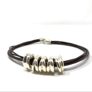 Sterling silver, brown leather cording chocker